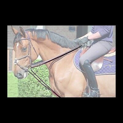 """Dy'on Leather/Nylon Draw Reins 5/8"""" - Brown - Full - #81341"""