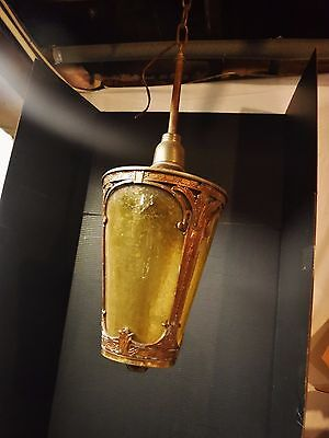 Large Art Deco Textured Amber Glass Foyer Pendant porch hall