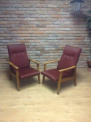 A Pair Of Armchairs-Vintage Retro MidCentury Danish Style Armchair Chairs