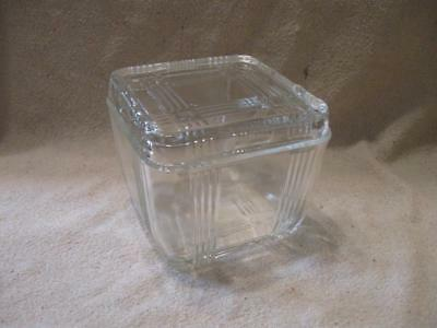 Vintage Clear Glass Small Square Refrigerator Bowl with lid