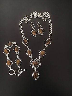 Valentine Gift Silver Plated Tiger's Eye Necklace Earring Set With Bracelet