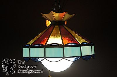 Lavery & Co Mid C. Leaded Stained Glass Pendant Globe Light Chandelier Bar Pool