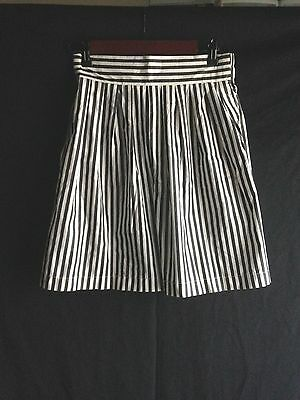 High Waist Shorts Black White Striped Pleated Women's Pant No tags! Waist 26-29""