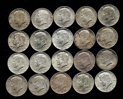 One Roll 1964 Kennedy Half Dollars 90% Silver (20 Coins)   Lot S60