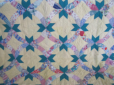 Rare Engagement Ring Quilt Yellow & Nile Green & Feed Sack Prints Approx 1930's