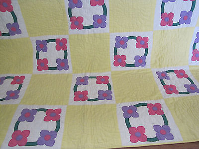 Vintage Applique Cherry Blossoms Quilt Solid Fabrics Of The Day Approx.1930's