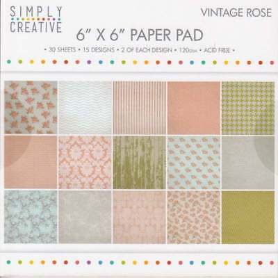 """Simply Creative 6"""" x 6"""" Paper Pad - Vintage Rose - New Free P &"""