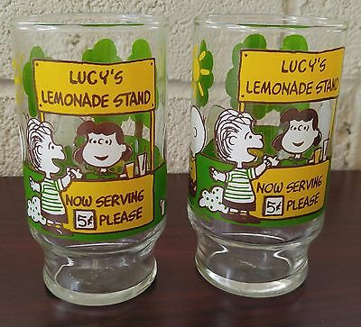 Pair of Vintage Peanuts Lucy's Lemonade Stand Juice Cups