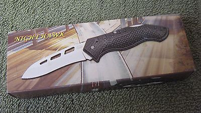 """New Frost Nighthawk Lock Back Folding Knife 3 1/4"""" Blade With Clip In Gift Box"""