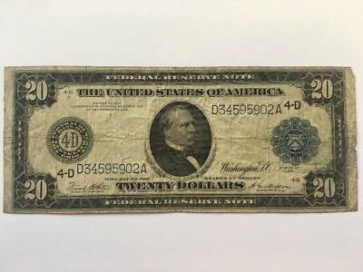 1914 $20 Twenty Dollar Large Bill Federal Reserve Note - Cleveland, OH