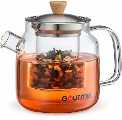 NEW & IMPROVED Gourmia GTP9810 Glass Tea Pot & Infuser With Handle, Lid & Filter