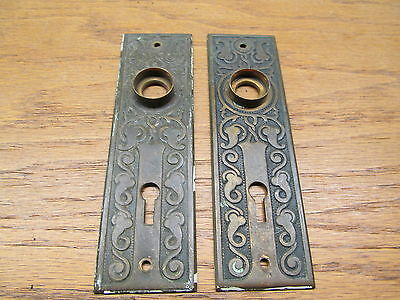 Pair Of Nice Ornate Door Knob Escutcheons Backplates Brass ?? Bronze ??