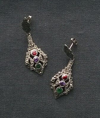 GENUINE VINTAGE STYLE 925 sterling silver MARCASITE & coloured stones earrings