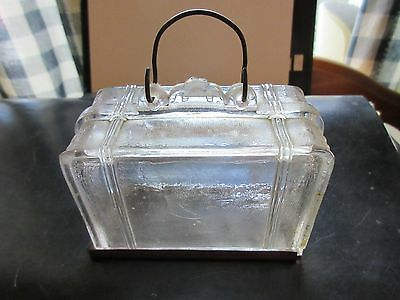"Vintage glass candy container""SUITCASE"" clear glass with closure"