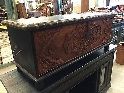 Calcutta Coffee Table Floral Carved Chest Dark Brown Rectangle Wooden Trunk