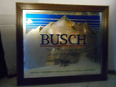 Vintage Collectible 24 X 20 Inch Decorative Framed Bush Beer Mirror Picture