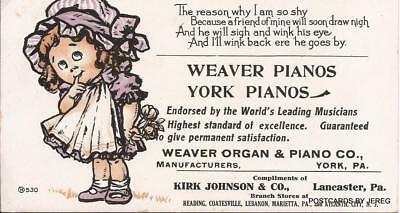 Ink Blotter  Weaver Pianos Compliments Of Kirk Johnson & Co Lancaster, Pa