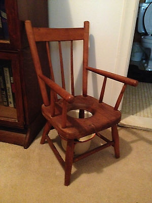 Adorable Antique Potty Training Chair,  Early 1900 Solid Wood