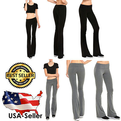 Womens Foldover Yoga GYM Athletic Fitness Soft Comfy Stretch Flare Leg Pants