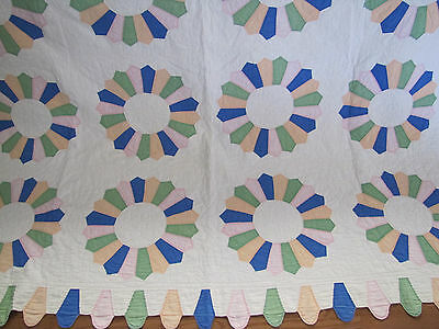 Dresden Plate Quilt Solid Prints Cone Border Approx 1930's Stunning Quilt