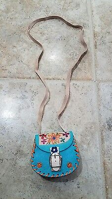 "Girls Handmade Mexican mini Leather Purse 4""X4"""