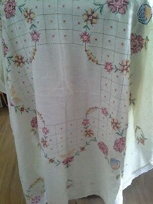 Vintage cotton embroidered tablecloth