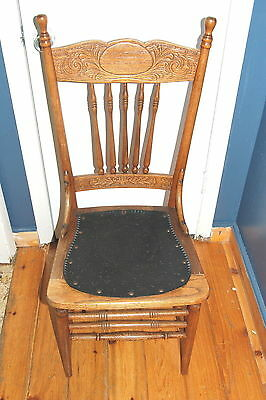 Antique Chair, Made Of Wood And Leather With Steel Rivets, Marked Brooks Taylor