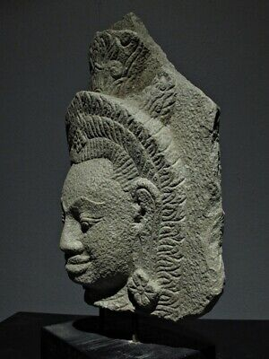Inscription Sculpture Khmer Sandstone Slab Apsara Figure Angkor Wat, Stone Relic