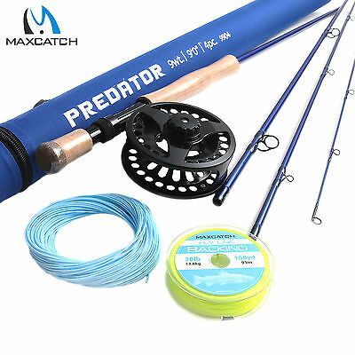 Maxcatch Saltwater Rod Combo 9' 9WT Fly Fishing Rod, 9/10WT Fly Reel, Line Kits