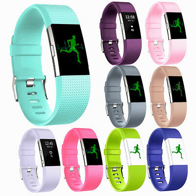 1# Replacement Silicone Rubber Band Strap Wristband Bracelet Fr Fitbit Charger 2