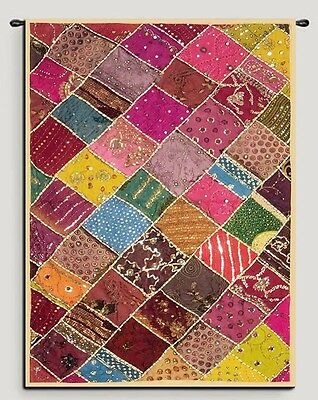 """60"""" Huge Antique Sari Beaded Sequin Embroidery Decor Throw Wall Hanging Tapestry"""