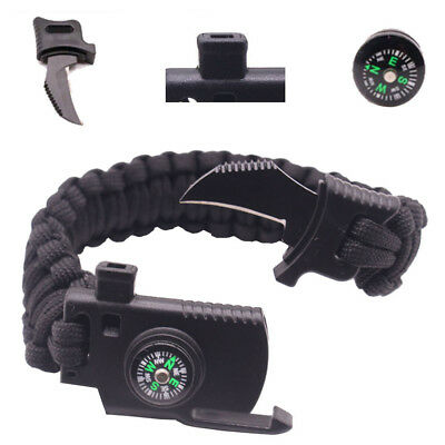 Outdoor Survival Bracelet Knife Paracord Compass Whistle Scraper Rope Gear Kits