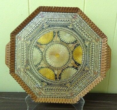 Amazing Unique Vtg Octagon Hand Crafted Wood Glass Straw Art Tray Intricate
