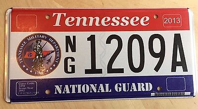 "2013 Tennessee National Guard License Plate "" Ng 1209A "" Tn Military Air Army"