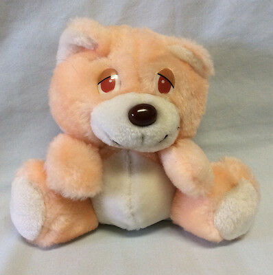 "Rare Vintage Sleepy Eyed Interpur Dayton Hudson Plush Peach Bear 6"" Tag Error?"
