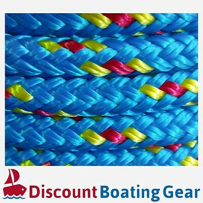 50m x 8mm Double Braid Polyester Yacht Rope | Blue & Yellow / Red Sailing Rope
