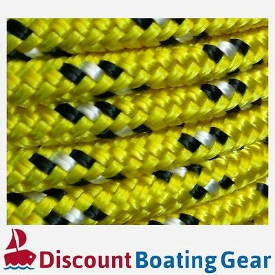 8mm x 50m Double Braid Polyester Yacht Rope | 8mm Yellow & Black Sailing Rope