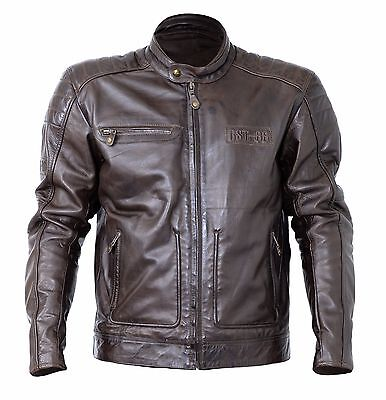 RST Roadster II 2 Retro Brown Leather Biker Motorcycle Jacket with CE Armour