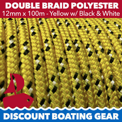 NEW 12mm Double Braid Polyester Yacht Rope | 100m Yellow & Black Sailing Rope