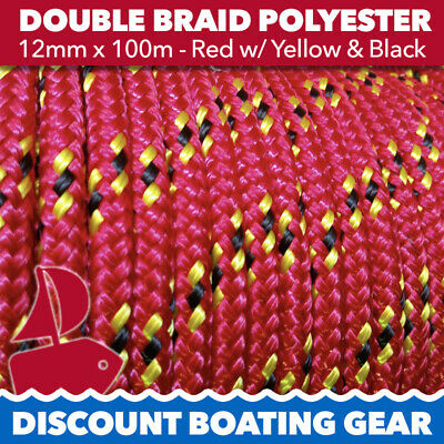 12mm x 100m Double Braid Polyester Yacht Rope Red & Yellow Quality Sailing Rope