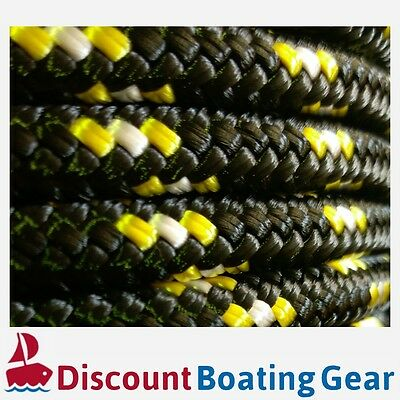 NEW 12mm Double Braid Polyester Yacht Rope | 100m Black & Yellow Sailing Rope