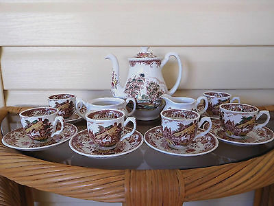 "Vintage Royal Tudor Ware ""Olde England"" Staffordshire Coffee / Tea Set - Rare !"