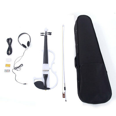 """New White Color """"8"""" Pattern 4/4 Full Size Electric Violin Fiddle Set"""