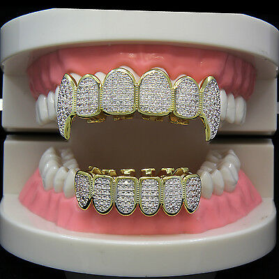 14K Gold Plated High Quality CZ Fang Top & Bottom GRILLZ Mouth Teeth + Free Gift