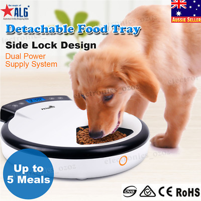 5 Meal Timer Automatic Pet Feeder Auto Portion Food Dispenser For Cat and Dog