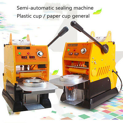 Automatic 220V Bubble Tea Cup Sealing Machine Juice Coffee Cup Sealer 500cups/hr