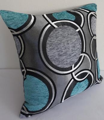 Grey Turquoise Black Silver Retro Circles Chenille Texture Cushion Cover 45cm