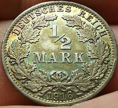 1916 -A German Empire: 1/2 Mark 90% Silver: Uncirculated #ch634d