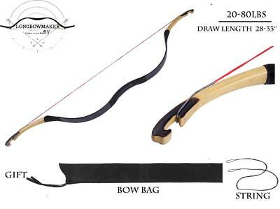 Handmade Chinese Traditional Archery Hunting Longbow Black Cow Leather 20-80lbs