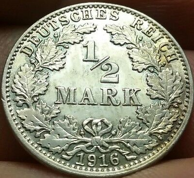 1916 -J German Empire: 1/2 Mark 90% Silver: well preserved aUncirculated #ch641d